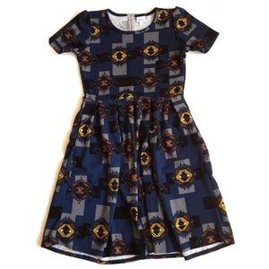 LuLaRoe Amelia fit flare dress blue Aztec print
